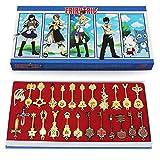 Fairy Tail Lucy 26 pz/set Cosplay Figura Portachiavi Scala & Free Pink Tattoo Heartfilia segno dello zodiaco Gold Key Doll