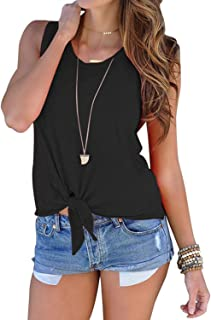 Women's Summer Casual Sleeveless Blouse Shirts Front Tie Knot Cami Tank Tops