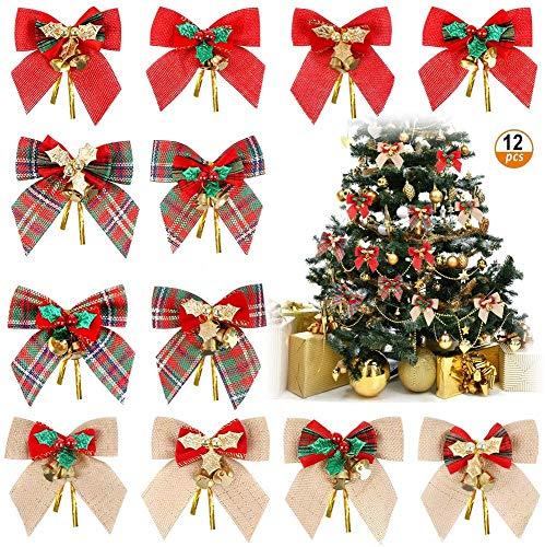 Queta - Fiocco natalizio decorativo, 12 pezzi di nastri per albero di Natale, per decorare l'albero di Natale (3 stili)