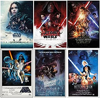 Star Wars Posters Set (from The Good Star Wars Movies) Episodes 4,5,6,7,8 and Rogue One, Size Each 24x36