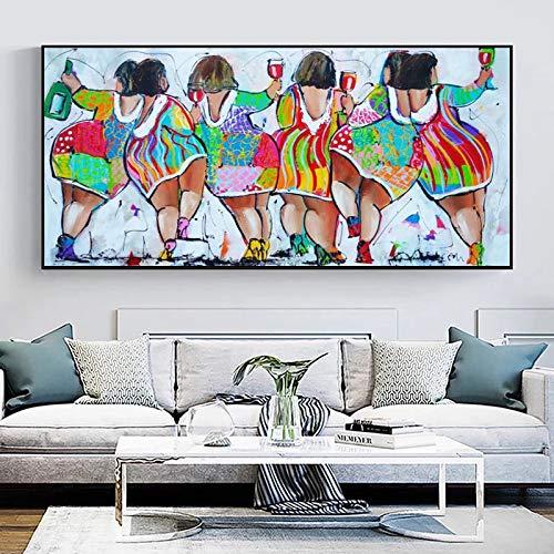 fdgdfgd Coloridas imágenes de Pintura al óleo Abstracta de Mujeres en la Barra Impresas en Lienzo, Carteles de Arte e Impresiones, decoración Moderna