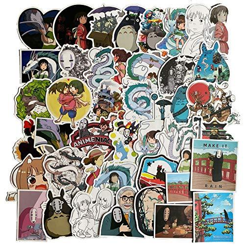 Pegatinas anime Hayao Miyazaki Spirited Away para equipaje, maleta, portátil, teléfono, 50 unidades