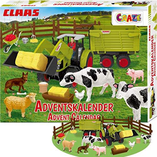 CRAZE Adventskalender CLAAS Maschinen 2020 Weihnachtskalender für Jungen Spielzeug Kalender tolle Inhalte 19597