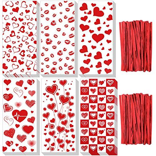 150 Piezas Bolsas de Celofán de San Valentín Bolsas de Dulces de San Valentín Bolsas de Regalo de Golosinas de San Valentín con 200 Lazos de Torsión para Suministros de Fiesta de San Valentín