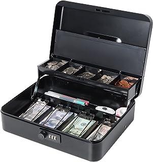 Lovndi Large Cash Box with Combination Lock, Metal money Box for Cash, Lock Box with Money Tray, Lockbox 11.8x 9.5x 3.54 I...