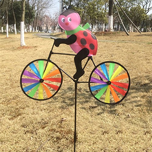 Manman Gartengeräte Nette 3D Tier auf Fahrrad Windmühle Whirligig Garten Rasen Hof Decor Wind Spinner Käfer