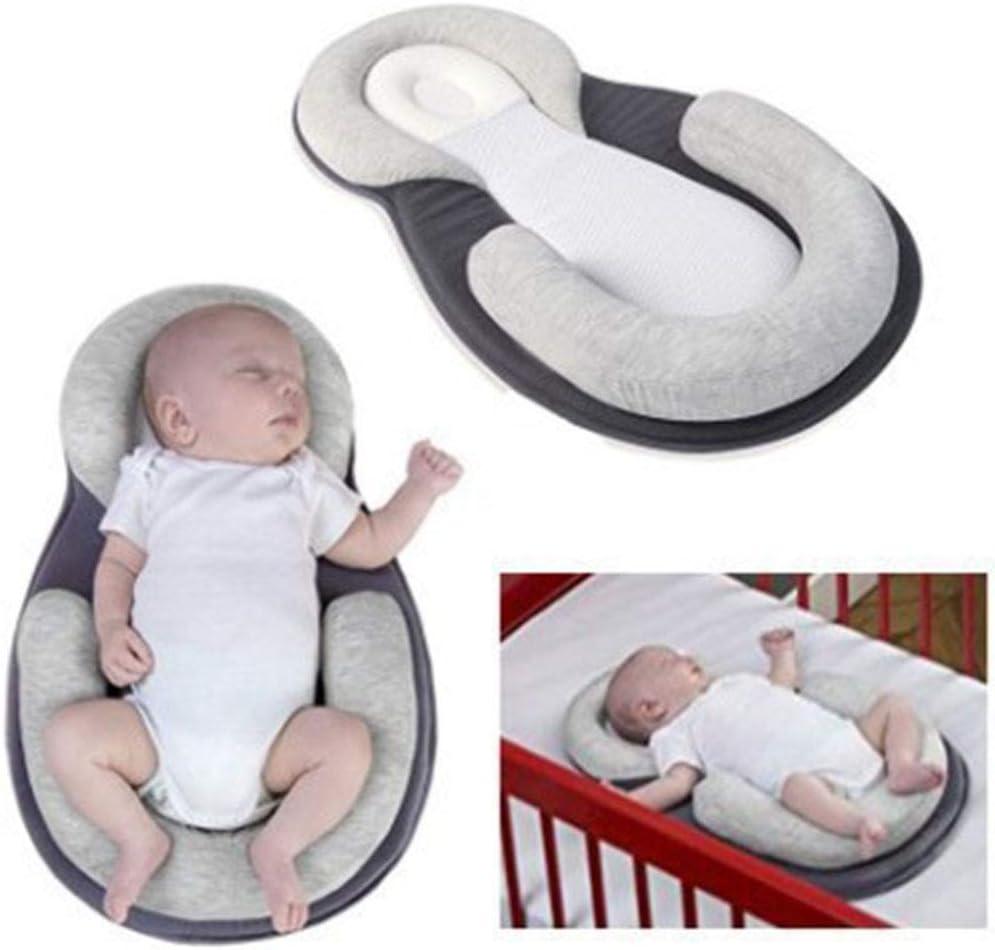 Body Pillow, Coussin Poussette bébé, Coussin de Soutien du Cou avec Doublure Tête et Oreiller de Soutien du Corps pour bébé 0-12 Mois,Gris Black