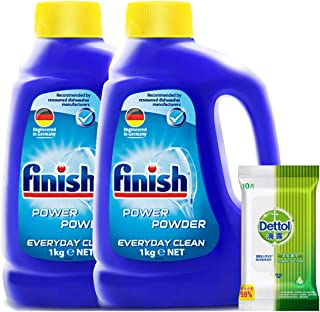 finish 洗碗机专用洗涤粉剂1kg*2(进口)(赠品随机)(亚马逊自营商品, 由供应商配送)