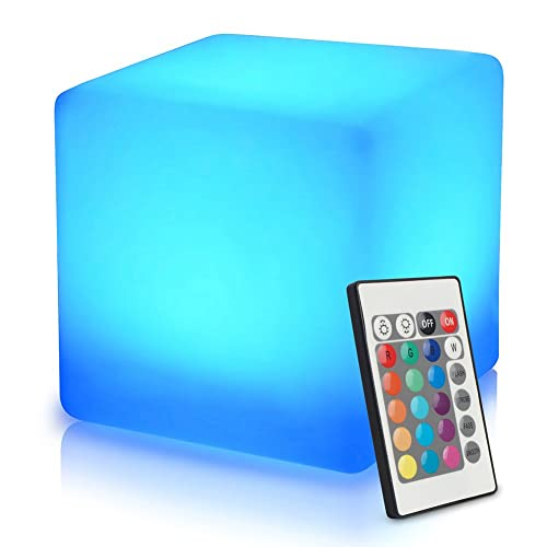 16-inch Rechargeable Colour Changing Led Mood Light Cube with Remote Control, Adjustable RGB Colour and Brightness Mood Lamp, Waterproof Indoor/Outdoor Led Cube Stool, Home Decorative Night Light