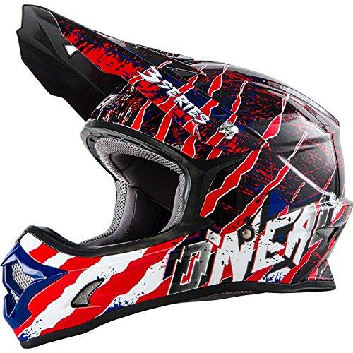 O'NEAL 3 Series Motocross Enduro MTB Helm Mercury schwarz/blau/rot 2018 Oneal: Größe: XL (61-62cm)