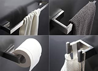 Towel Bar Set, 4Pcs Bathroom Hardware Accessory Set Brushed Nickel, Stainless Steel Bath Hardware Set, Towel Rod with Toilet Paper Holder, Towel Bar and Double Robe Hook.
