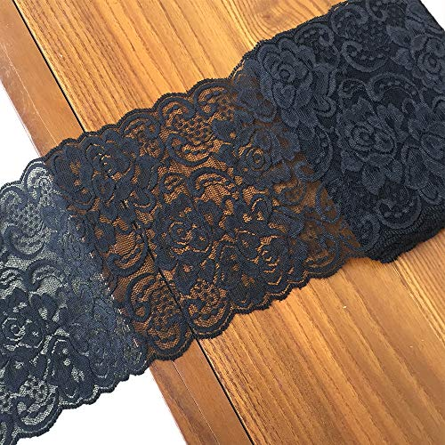 Olive Lace 6 inches Wide Black Stretchy lace Ribbon Elastic Trim Fabric with Floral Pattern for Bridal Wedding Decorations , Sewing DIY Making and DIY Crafts-5 Yards (910 Black)