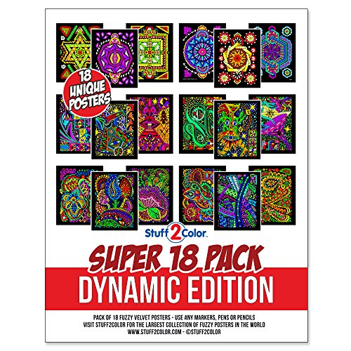 Super Pack of 18 Fuzzy Velvet Coloring Posters (Dynamic Edition) - Great for Family Time, Arts & Crafts, Travel, At Home, Care Facilities [All Ages Coloring: Girls, Boys, Adults, Toddlers, Teens]