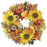 RESOYE Corona de otoño para la puerta delantera, corona de otoño de cosecha guirnalda de Halloween decoraciones de calabaza artificial para Halloween decoración de vacaciones