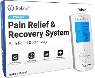 TENS Unit + EMS Muscle Stimulator by iReliev: Comes with 14 Therapy Modes, Premium Pain Relief and Recovery System, Rechar...