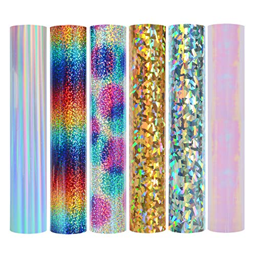 Holographic Heat Transfer Vinyl Rainbow Stripe Multi Heat Press Patterned Vinyl for DIY Iron On Clothing and Other Fabric 12x10 6 Sheets/Bundle (Crystal Gold ?Crystal Silver)