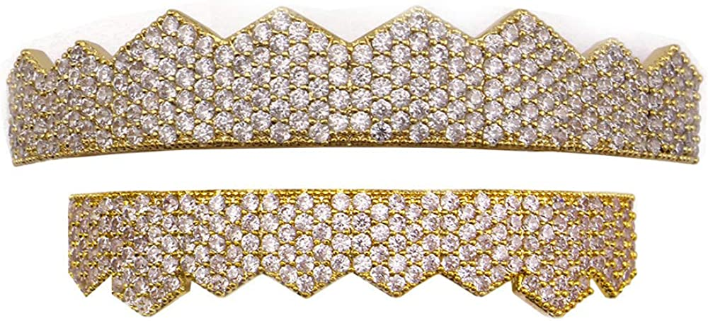 OOCC 18k Gold Plated Iced Out Bling Gold Grillz for Mouth Top Bottom Hip Hop Teeth Grills for Teeth Mouth Grillz