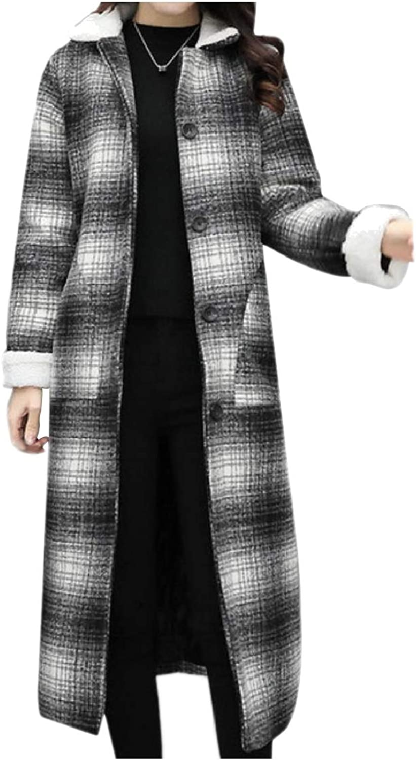 Fieer Womens Plaid Long Trench Buttoned Slim TurnDown Collar Pea Coat