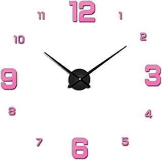 3D Real Big Wall Clock Rushed Mirror Wall Sticker Living Room Home Decor Fashion Watches Arrival Large Wall Clocks 7,Pink,37inch
