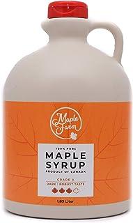 MapleFarm - Pur Sirop d'érable Catégorie A, Foncé - goût robuste - 1,89 litres (2,5 Kg) - Original maple syrup - Grade A -...