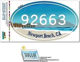 Zip Code 92663 Newport Beach, CA Euro Oval Window Bumper Laminated Sticker - Beach Pier