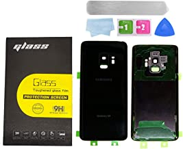 Ljistar Back Glass Replacement Black for Samsung Galaxy S9 G960 Back Glass Cover Glass Battery Door Back Camera Glass Cover Tape Waterproof Adhesive Repair Toolkit