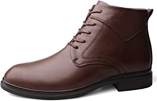 Sunny&Baby Ankle Boot for Men High Top Dress Shoes Lace up Genuine Leather Solid Color Round Toe Stitching Anti-Slip (Fleece Lined Optional) Durable (Color : Brown(Fleece Inside), Size : 6.5 UK)