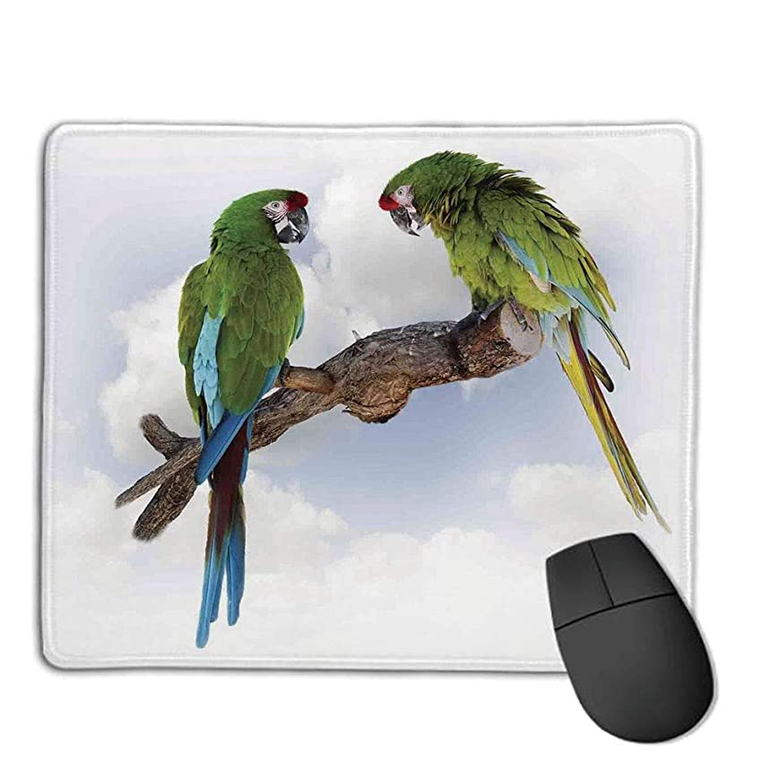 Mouse Pad pad Customized Rectangle Non-Slip Rubber Mousepad,Parrots Decor,Two Parrot Macaw on a Branch Talking Birds Gifted Clever Creatures of The Nature,Green White Brown,Consoles More Enjoy Preci