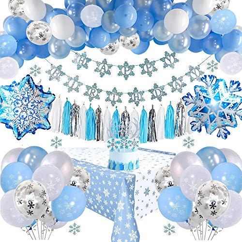Gefrorene Geburtstags Dekorationen mit Geburtstags Banner, Tortenauflagen, Quasten, Tischdecke, Blau Weiß Konfetti Latex Luftballons für Mädchen Frauen Geburtstag Baby-Dusche Party Hintergrund