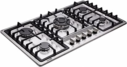 Deli-kit 34 Inch Gas Cooktops Dual Fuel Sealed 5 Burners Stainless Steel Gas Cooktop Drop-In Gas Hob DK258-B01 Gas Cooker