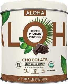 ALOHA Organic Chocolate Plant Based Protein Powder, 19 oz, 15 Servings, Vegan, Gluten Free, Non-GMO, Stevia Free, Soy Free, Dairy Free