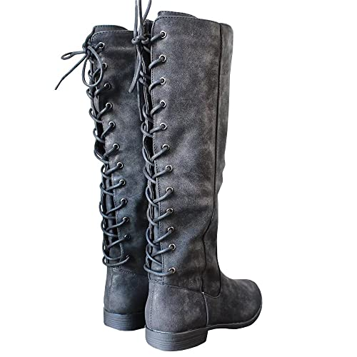 750ffb14c7e4a Womens Laced-up Knee High Riding Boots Side Zipper Chunky Low Heel Faux  Leather Shoes
