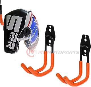 Sponsored Ad - MC MOTOPARTS Orange Wall Mount Helmet Half Full Shield Helmet Hook Holder x2 Large Double Iron Curved Hook ...