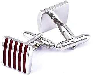 Aooaz Cufflinks Jewelry Enamel Stripe Dress Shirt for Cufflinks Red