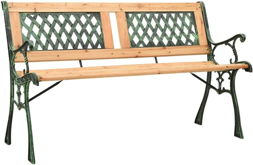ZAMAX Solid At the price Firwood Nostalgic Style Max 76% OFF Legs Cast Bench Iron Garden