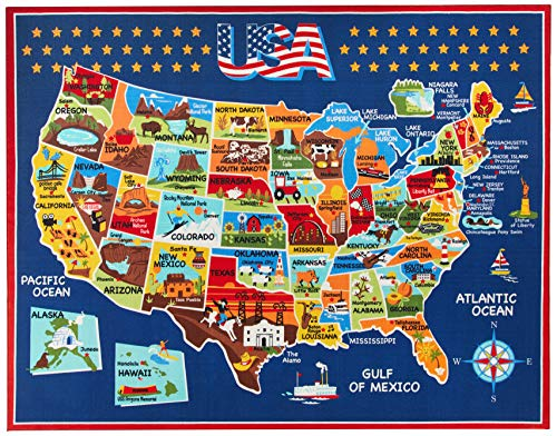 Gertmenian Smithsonian Rug US Map Learning Carpets Bedding Play Mat Classroom Decorations Blue Area Rugs 8x10, Navy (40642)