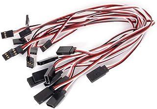 Mallofusa 10pcs 300mm 30cm Servo Extension Lead Cord Wire Splitter Male to Female Futaba JR Extension for KK MWC Eagle Con...