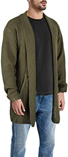 Taoliyuan Mens Cardigan Sweater Ripped Shawl Collar Winter Thick Open Front Distressed Long Jacket