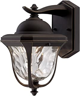 Designers Fountain EV7067-246 LED Aged Bronze Patina Outdoor Wall Lantern with Clear Hammered Glass Shade, 14