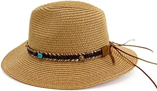 Vadeytfl Hat Panama Straw Beach Sun Hat Summer Straw Beach Hat Wide Brim Straw Braid Visor Hat - Adjustable (Color : Brown)