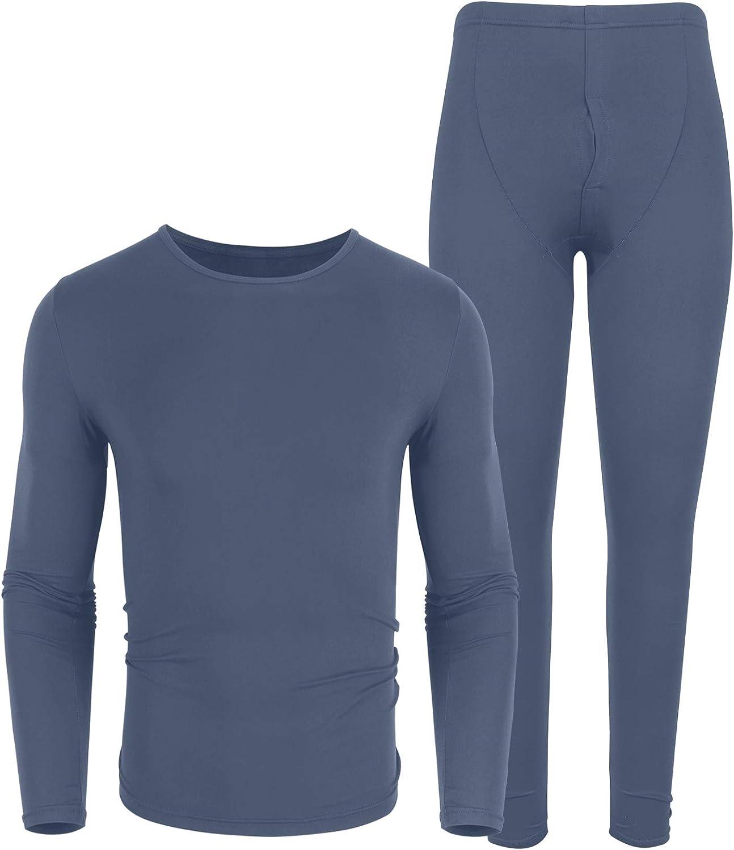 iWoo Mens Thermal Underwear Set Ultra Soft Lightweight Thin Long John Base Layer Tops /& Bottoms