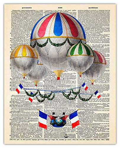 French Hot Air Balloon Dictionary Wall Art Print: Unique Room Decor for Boys, Men, Girls & Women - (8x10) Unframed Picture - Great Gift Idea Under $15
