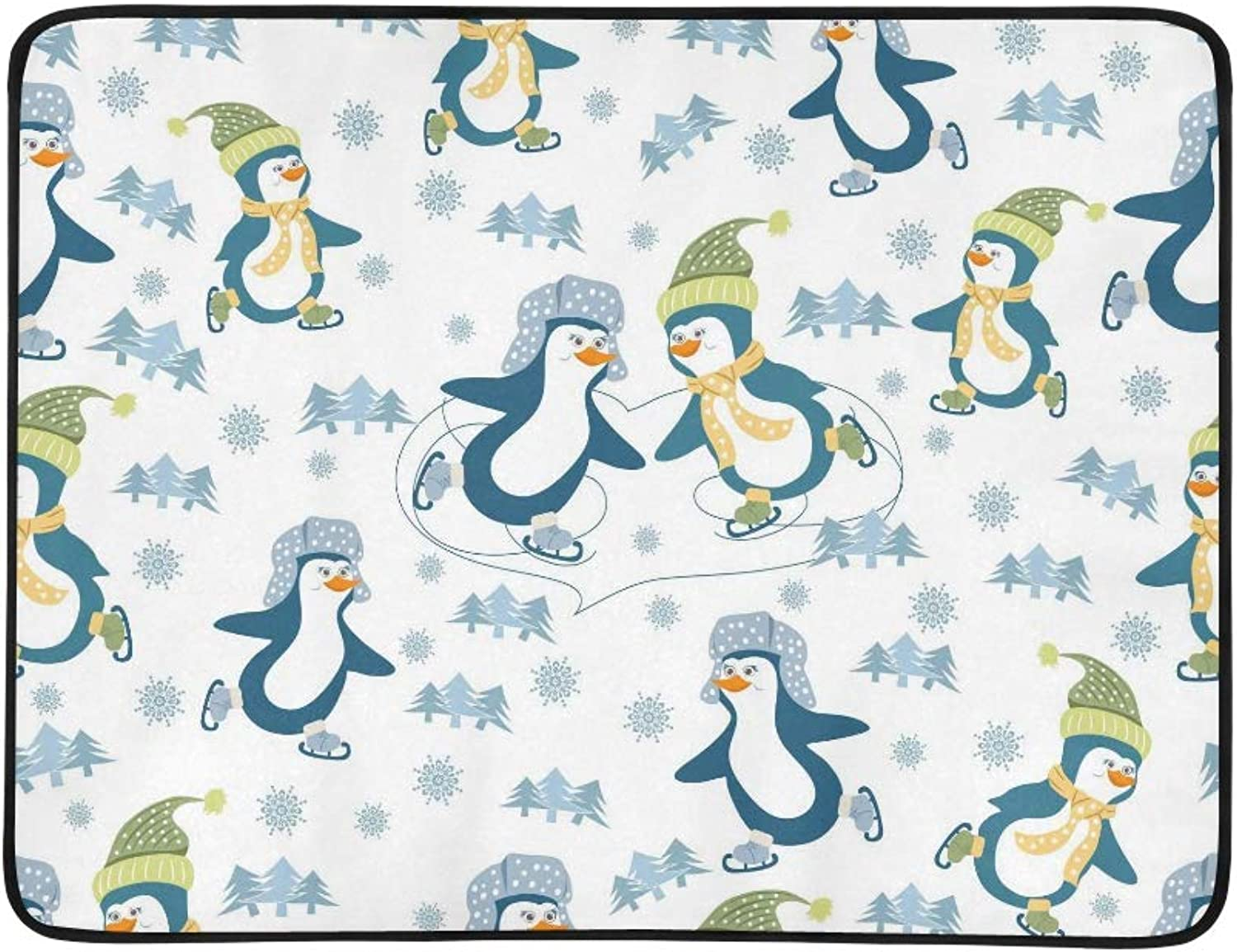 Winter Sport Animal Penguin Tree Snowflake Pattern Portable and Foldable Blanket Mat 60x78 Inch Handy Mat for Camping Picnic Beach Indoor Outdoor Travel