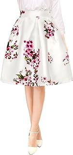 comprar comparacion Allegra K Falda Midi Plisada A-Línea Estampados Florales Cintura Alta para Mujer