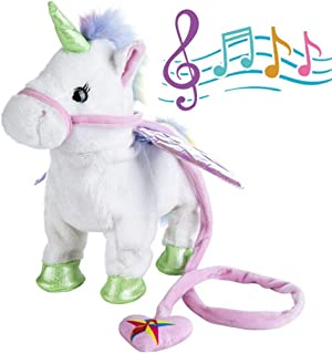 qiaoniuniu Electronic Pet Unicorn - White Small Pegasus - Stuffed Unicorn ,Singing Walking Musical Cute Plush Toys for Toddlers Girls Boys,Kids & Pets Birthday