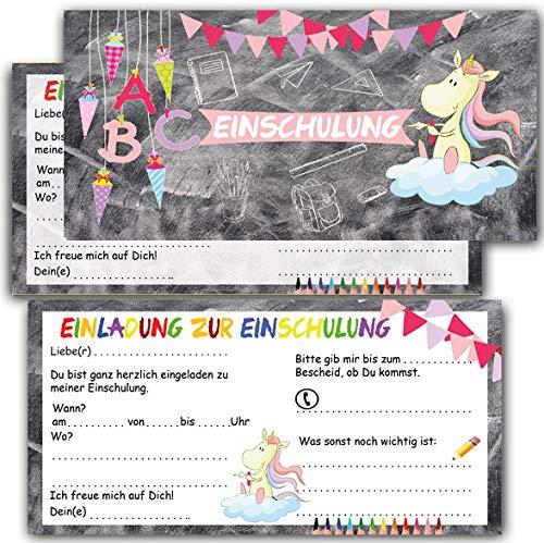 Einladung zur Einschulung für Mädchen Einhorn Schultüte Einladungskarten mit Umschlägen 12er Set zum Schulanfang Schulbeginn Schuleinführung Schuleingang Zuckertüte (Einschulung2)