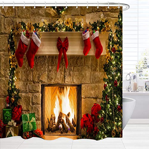 BROSHAN Christmas Shower Curtain Set Clearance, Merry Xmas Eve Fireplace Gifts& Red Socks New Year Holiday Bathroom Set, Red Christmas Fabric Bathroom Accessories , 72 inches Long, Khaki Green