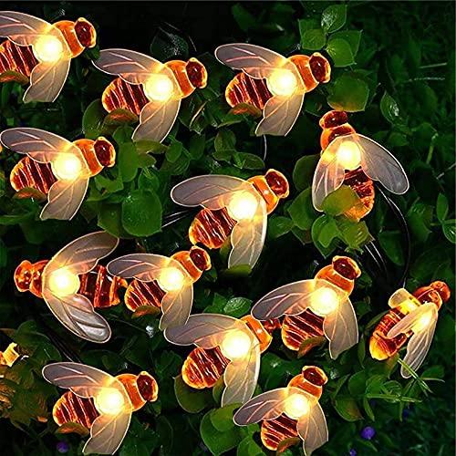Cadena de luces solares, 7m 50 LED luces de jardín de hadas de abeja miel8 modos impermeable exterior/interior para valla de flores, césped, patio, festón, fiesta de verano, Navidad, vacacione