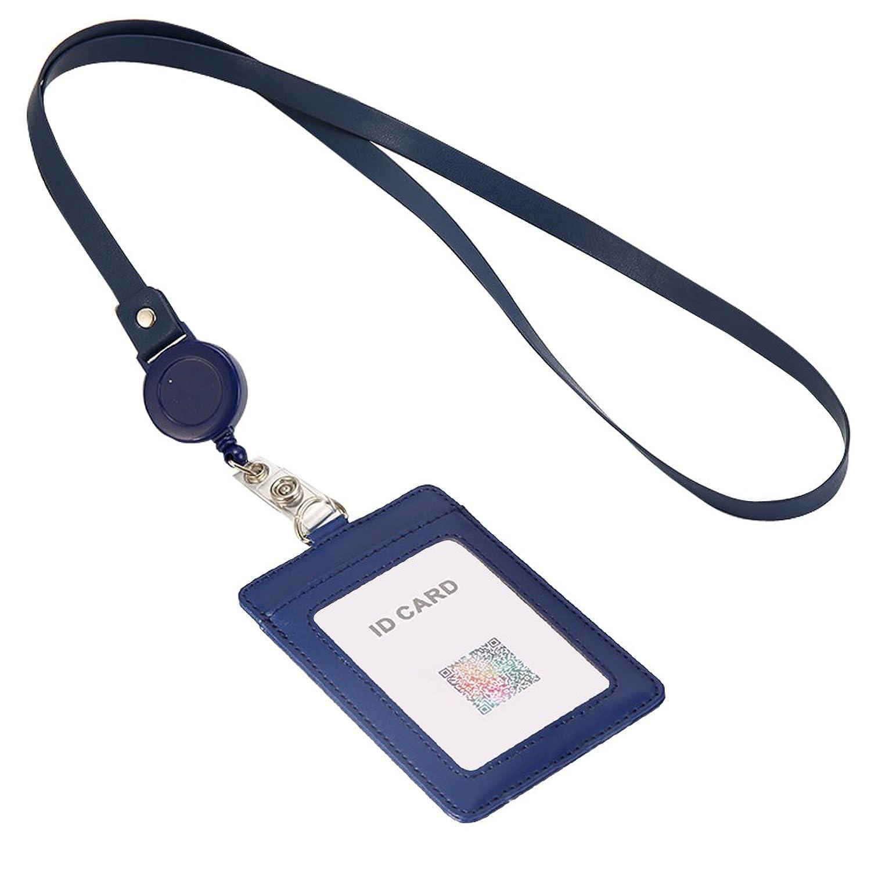 定期入れ 社員証ケース カードホルダー ネームホルダー パスケース 本革 リールネックストラップ 2枚入れ