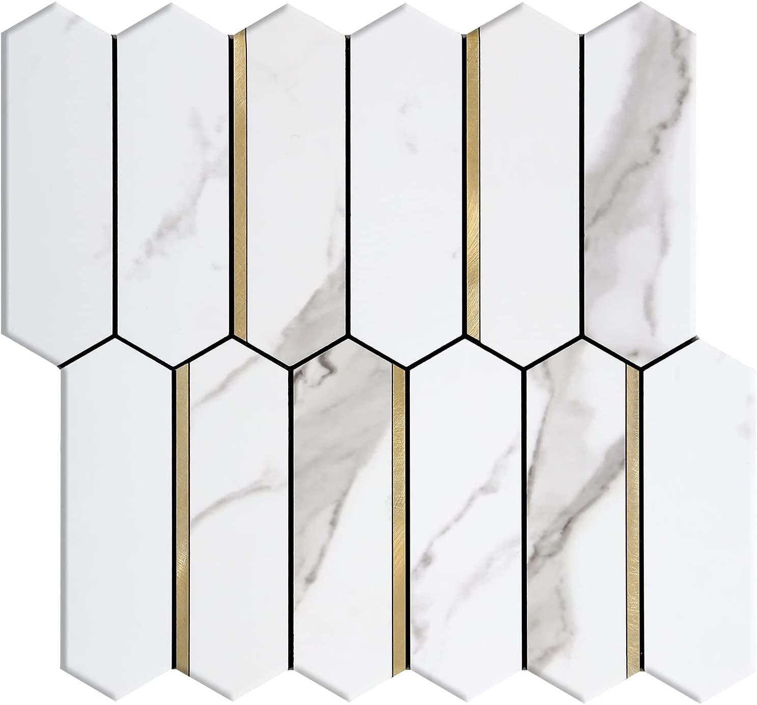 KASARO Faux Marble Long Hexagon Wall St Sticker Golden SEAL limited product Tile OFFicial site with